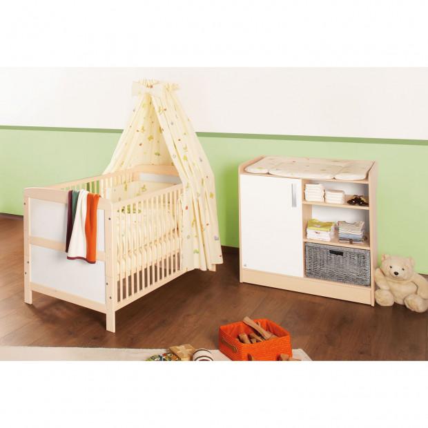 Pack chambre bébé beige design en bois massif collection Haron