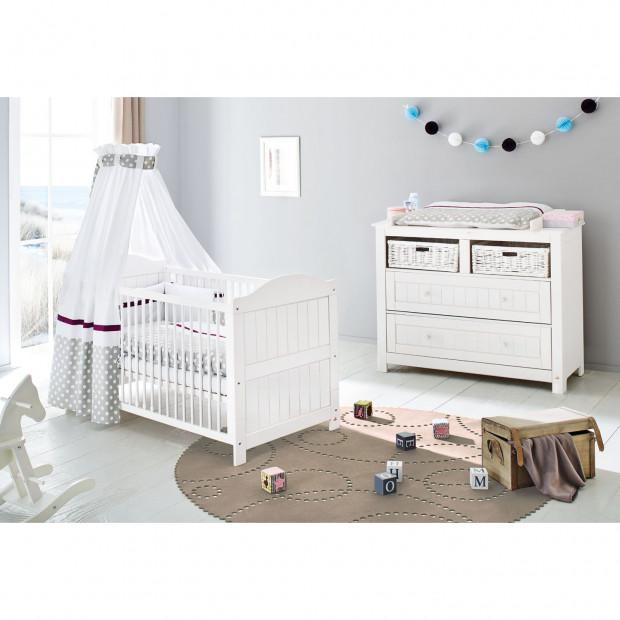 Pack chambre bébé blanc design en bois massif collection Heinicke