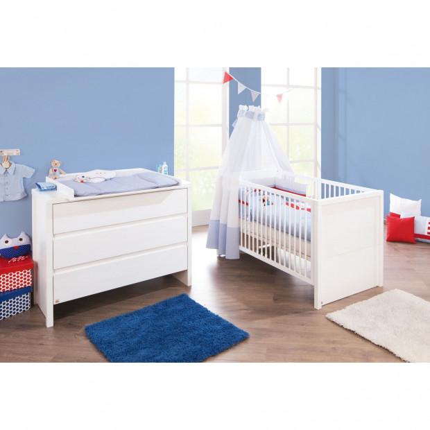 Pack chambre bébé blanc design en bois massif collection Galizes