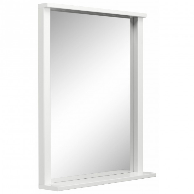 Miroir de salle de bain design avec étagère coloris blanc L. 63 x P. 12 x H. 78 cm collection Horsman