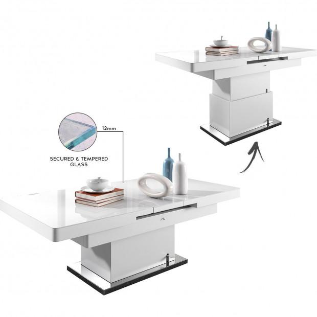 Table extensible et relevable blanc design en bois mdf laqué brillant et plateau en verre trempé securité blanc 12mm avec un piètement en acier inoxydable brossé L. 138 - 175 x P. 80 x H. 50-78 cm collection Mignonette