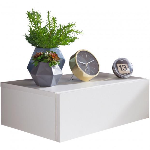 Chevet - table de nuit blanc design en acier L. 46 x P. 30 x H. 15 cm collection Maresca