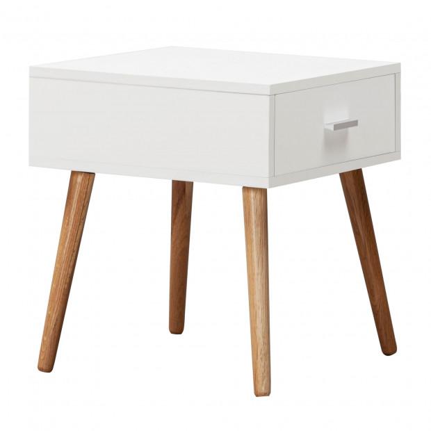 Chevet - table de nuit blanc scandinave en bois mdf et bois massif L. 40 x P. 42 x H. 46,5 cm  collection Shipp