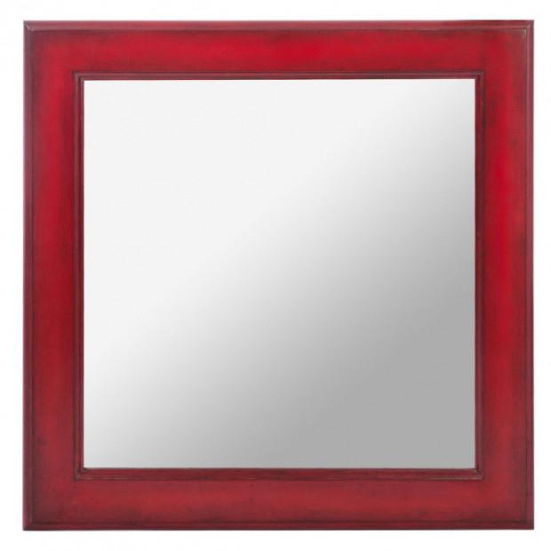 Miroir rouge classique en bois massif 50 x 50 cm collection Migliarina