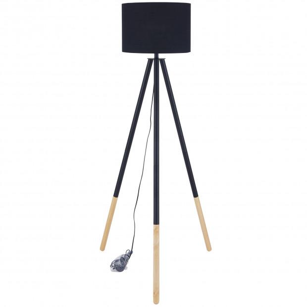 Lampadaire trépied 154 cm en bois d'hévéa massif avec abat-jour en tissu coloris noir  L. 65 x P. 65 x H. 154 cm collection Greenheads