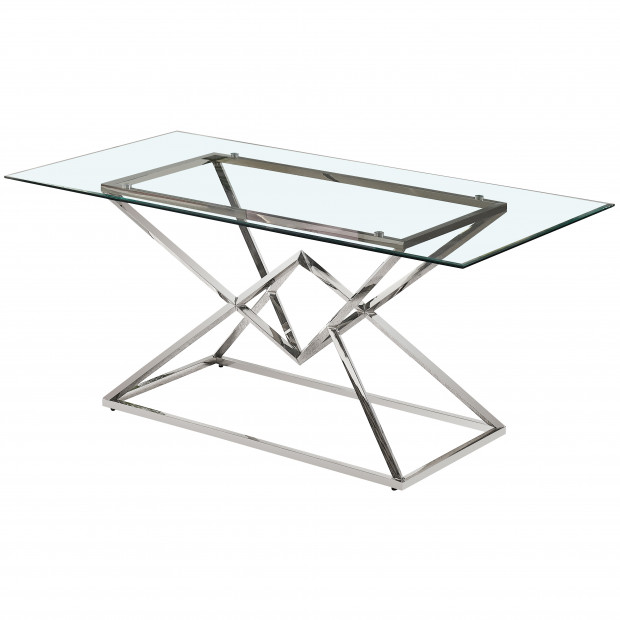 Table de salle à manger design piètement en acier inoxydable poli argenté et plateau en verre trempé transparent L. 180 x P. 90 x H. 75 cm collection PARMA