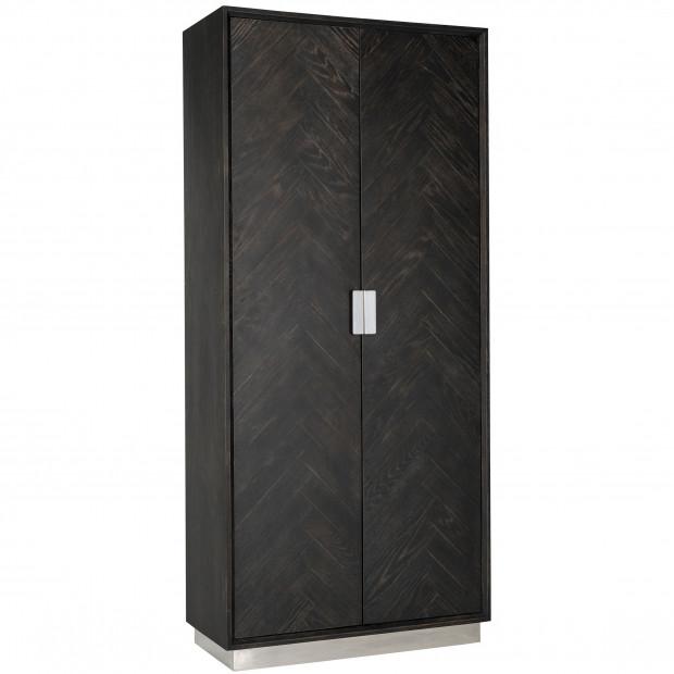 Armoire 2 portes argenté design en acier inoxydable et bois massif L  100 x P. 45 x H. 220 cm collection Blackbone-Silver Richmond Interiors