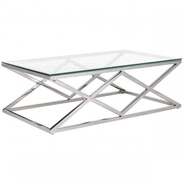 Table basse en verre argenté design en acier inoxydable   et verre L. 120 x P. 70 x H. 40 cm collection Paramount Richmond Interiors