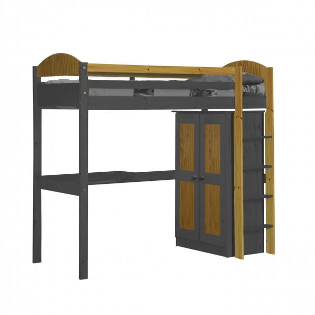 Lit mezzanine 90x200 cm contemporain gris en bois massif collection Blakemere