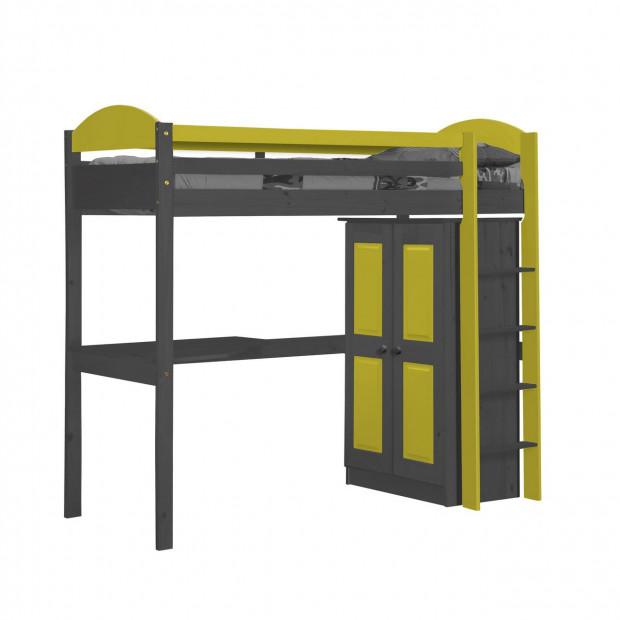 Lit mezzanine 90 x 200 cm  contemporain jaune en bois massif collection Blakemere