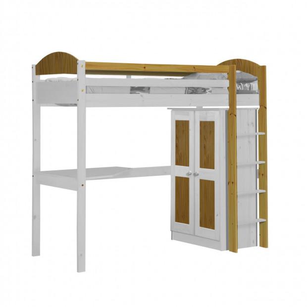 Lit mezzanine 90 x 200 cm  blanc contemporain en bois massif collection Blakemere