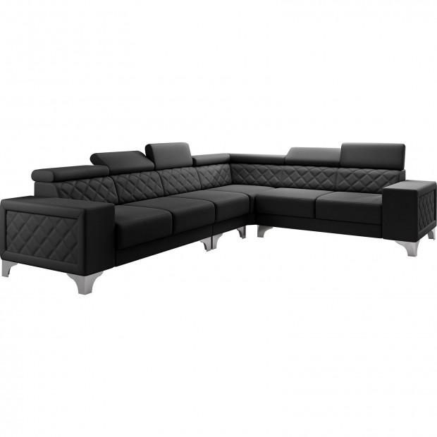 Canapés d'angle noir réversible  moderne en pvc 6 places L. 325-260 x P. 96 x H. 87-107 cm collection LUGANO
