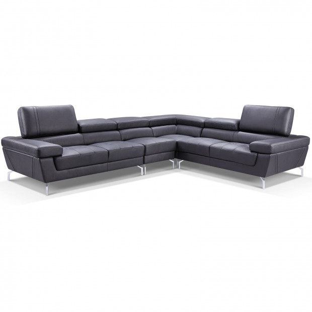 Canapés d'angle noir design en pvc réversible 6 places . 333-265 x P. 102 x H. 76-102 cm collection LARA