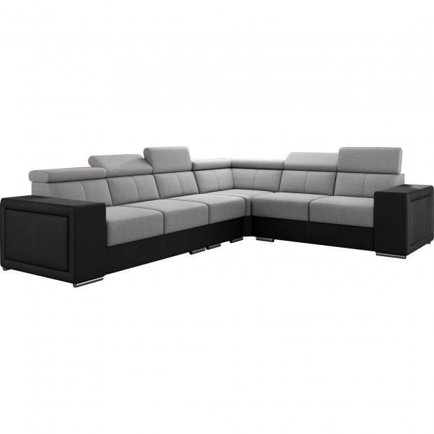 Canapés d'angle gris réversible moderne en acier 6 places L. 260-325 x P. 94 x H. 67-100 cm collection SANDRA