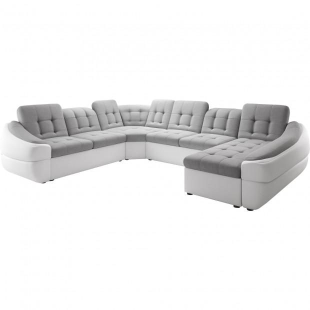 Canapés d'angle gris design en polyester 6 places L. 327-264-190 x P. 100-110 x H. 79-87 cm collection DIVANI