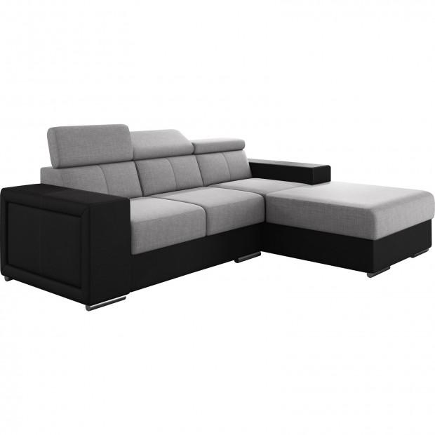 Canapés d'angle noir moderne en acier 3 places L. 255-180 x P. 94-96 x H. 67-100 cm collection SANDRA
