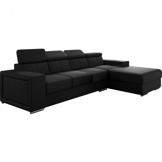 Canapés d'angle noir moderne en pvc 4 places L. 319-180 x P. 96-85 x H. 82-102 cm collection SANDRA