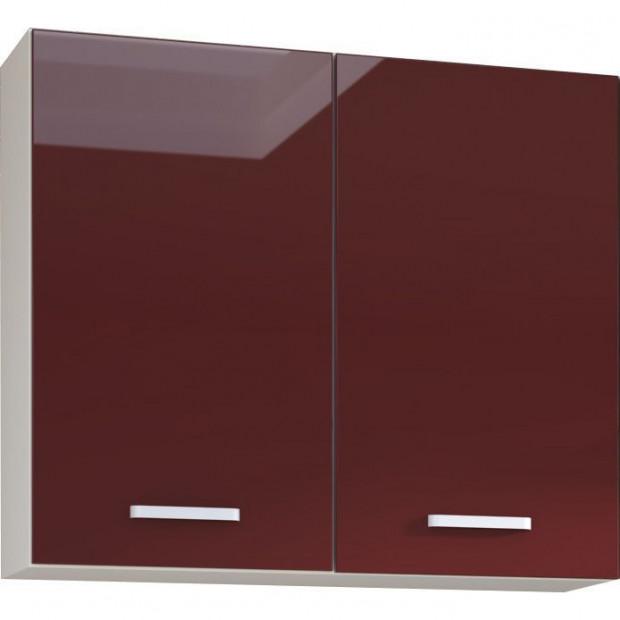 Meuble haut de cuisine design 2 portes coloris blanc mat et rouge laqué L. 80 x P. 30 x H. 72 cm collection Carlsbad