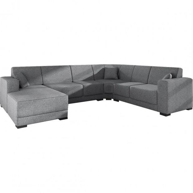 Canapés d'angle gris moderne en tissu angle gauche L. 270-336-160 x P. 81-84 x H. 78 cm 6 places collection ASTRA