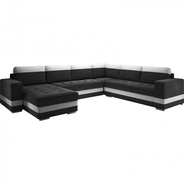 Canapés d'angle convertibles noir design en acier 6 places L. 339-258 x P. 82 x H. 75-80 cm collection ELENA
