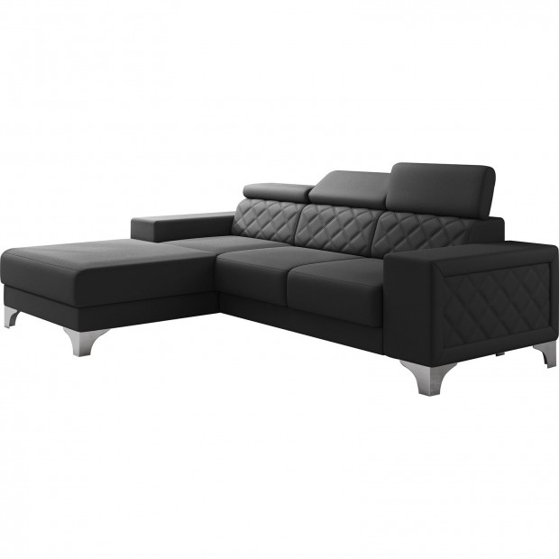 Canapés d'angle noir moderne en pvc 3 places L. 255-180 x P. 94-96 x H. 82-102 cm collection LUGANO