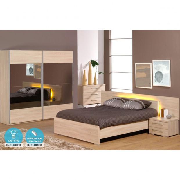 Pack chambre à coucher adulte contemporaine beige en panneaux de particules mélaminés 140 x 200 cm Collection Staley