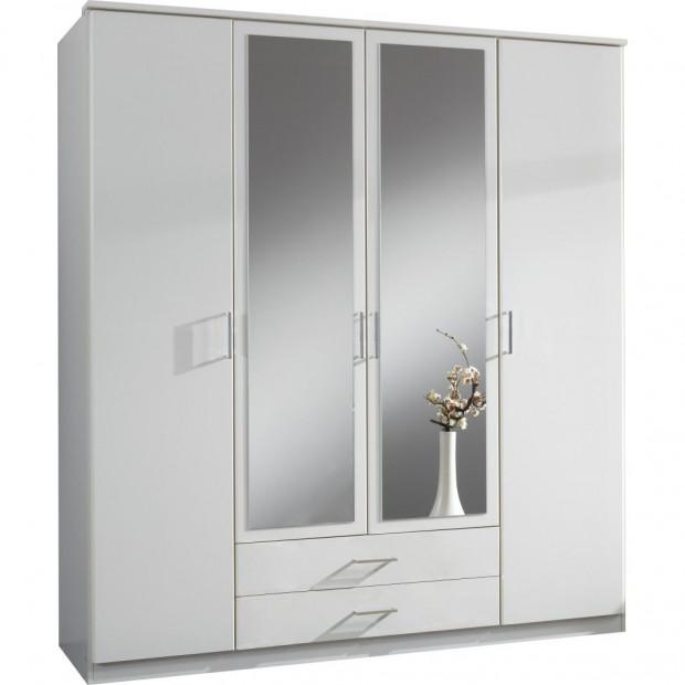 Armoire adulte blanc contemporain en panneaux de particules mélaminés de haute qualité L. 180 x P. 58 x H. 199 cm collection Lever
