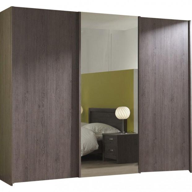 Armoire porte coulissante marron contemporain  panneaux  de particules mélaminés, L. 250 x P. 72 x H. 216 cm collection Obryan