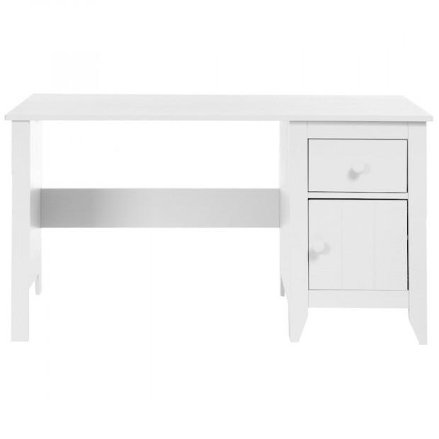 Bureau enfant design blanc en bois MDF et panneaux de particules L. 140 x P. 70 x H. 75 cm Collection Hattan