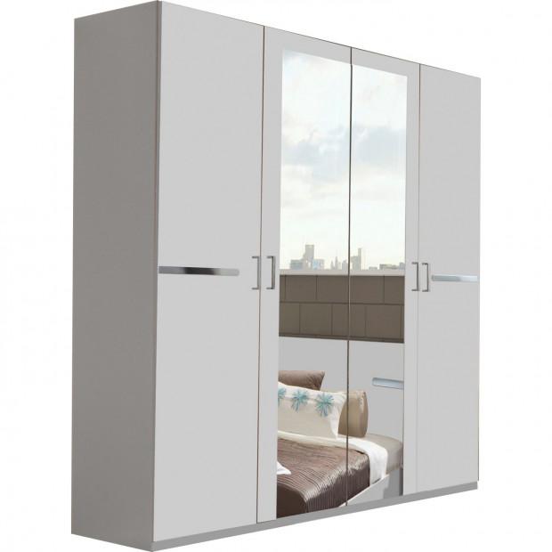 Armoire adulte blanc contemporain en panneaux de particules mélaminés de haute qualité L. 180 x P. 58 x H. 210 cm collection Niederrasen