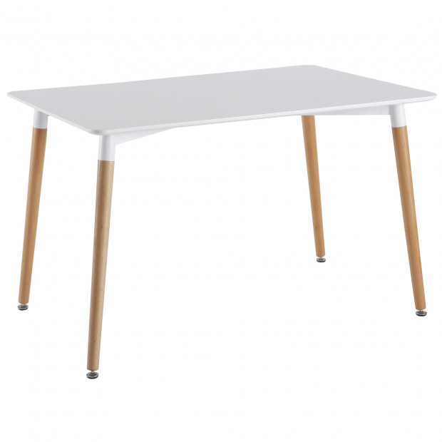 Table de salle à manger design blanc en bois massif hêtre L.120 x P.80 x H.75 cm Collection Puny