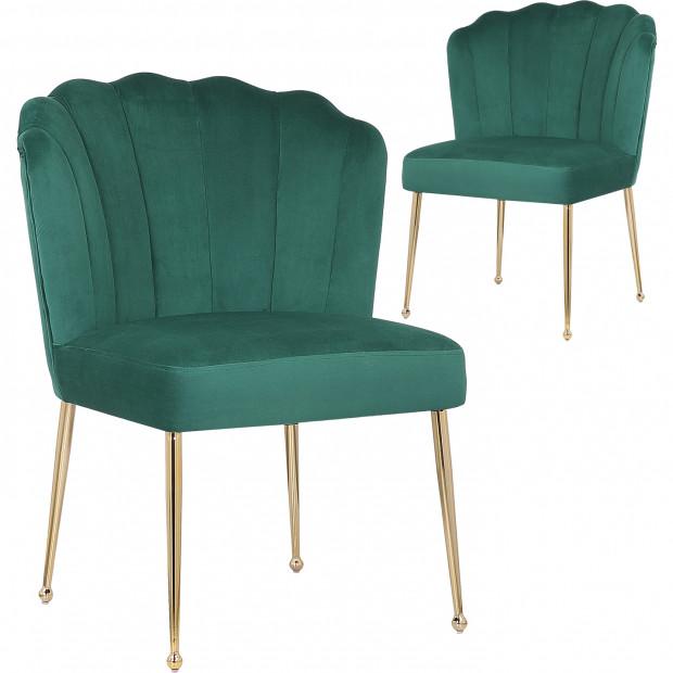 Lot de 2 Chaises de salle à manger design revêtement en velours vert foncé et piètement en acier doré collection NORA