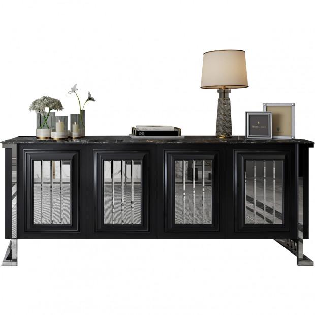 Buffet design 4 portes en bois 100% mdf laqué noir et plateau en imitation marbre noir avec piètement en acier chromé argenté 208cm collection Angel