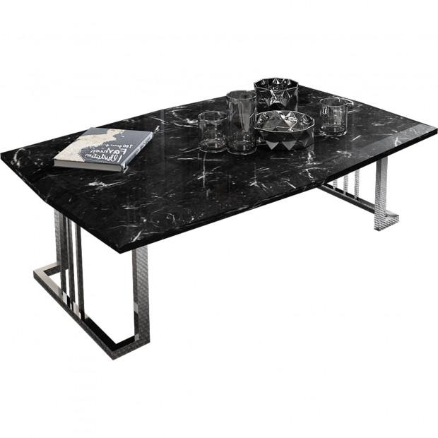 Table basse design avec plateau en bois 100% mdf laqué imitation marbre noir et piètement en acier chromé argenté 115x74cm collection Angel