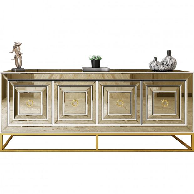 Bahut design 4 portes en miroir bronze avec piètement en acier chromé doré L. 208 x P. 48 x H. 85 cm collection Monaco