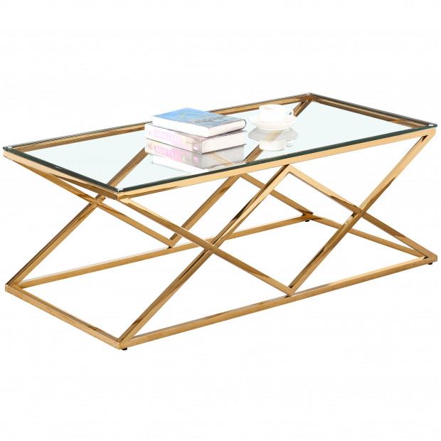 Table basse design en acier inoxydable poli doré et plateau en verre trempé transparent L. 120 x P. 60 x H. 45 cm collection ROMA