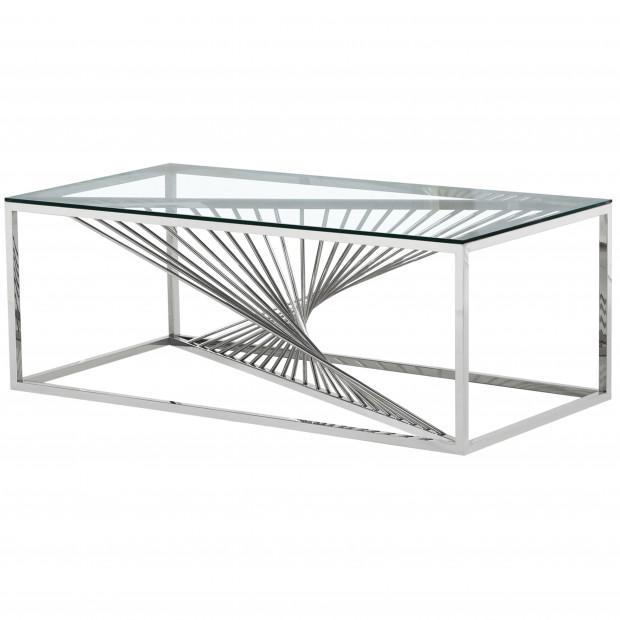 Table basse design en acier inoxydable poli argenté et plateau en verre trempé transparent L. 120 x P. 60 x H. 45 cm collection BOLZANO