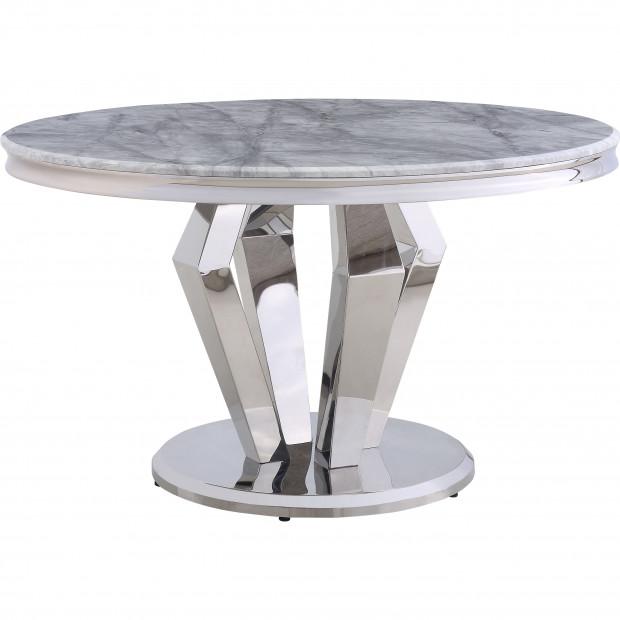 Table de salle à manger design rond plateau en marbre gris et piètement centrale en acier inoxydable poli argenté  Collection Valentino L. 130 x P. 130 x H. 76 cm