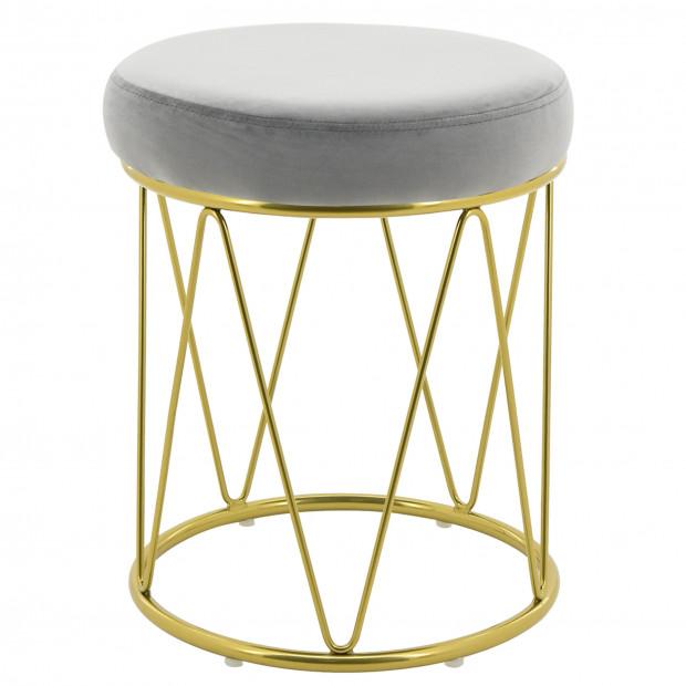Pouf design revêtement velours gris avec piètement en acier doré collection PUFFY L. 35 x H. 44 cm