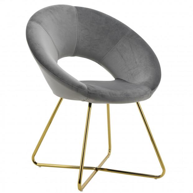 Chaise salle à manger design revêtement en velours taupe avec piètement en acier doré collection BARCLAY L. 49 x P. 50 x H. 48 cm