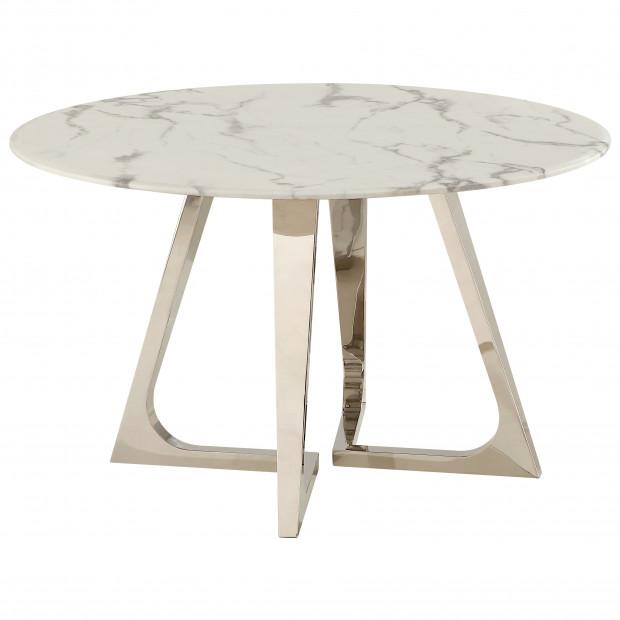 Table de salle à manger rond design avec un plateau en marbre artificiel blanc et un piètement en acier inoxydable poli argenté Collection Veneta L. 130 x P. 130 x H. 76 cm