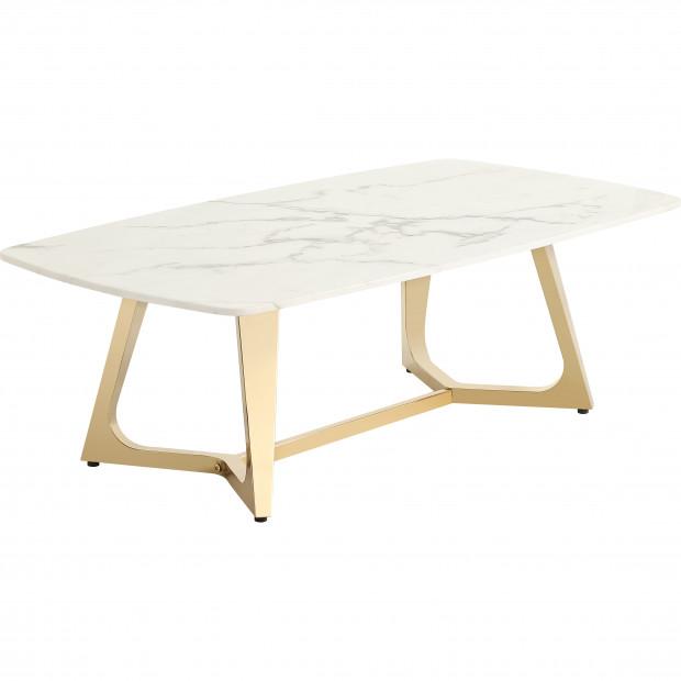 Table basse design avec un plateau en marbre artificiel blanc et un piètement en acier inoxydable poli doré Collection Veneta L. 130 x P. 70 x H. 42 cm
