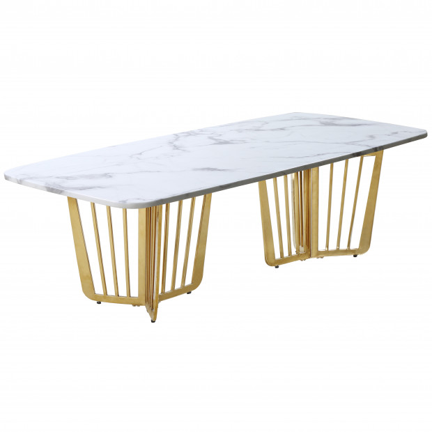 Table basse design avec plateau en marbre blanc et piètement en acier doré  L. 140 x P. 72 x H. 45 cm collection FASTRO