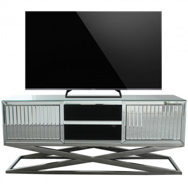 Meuble tv design en mirroir avec 2 portes et un piètement en acier inoxydable poli L. 160 x P. 40 x H. 50 cm collection GALA