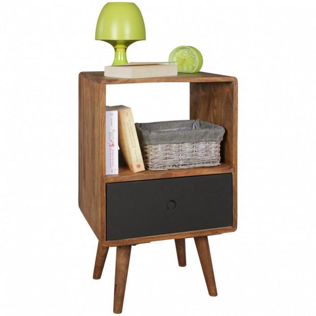 Table d'appoint marron scandinave en bois massif L. 40 x P. 35 x H. 70 cm collection Seck