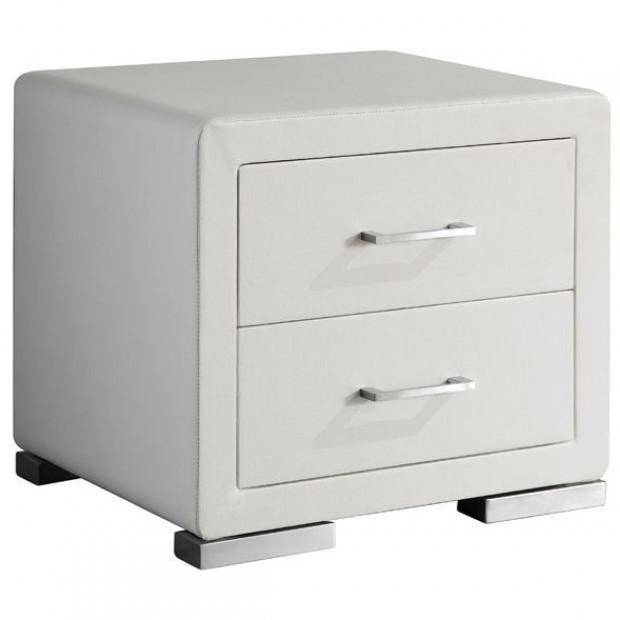 Chevet - table de nuit blanc design en bois mdf  L. 49 x P. 38 x H. 43,5 cm Collection Cullen