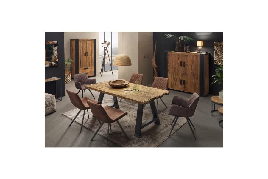 Composition salle à manger complète style vintage coloris variés collection Claughton