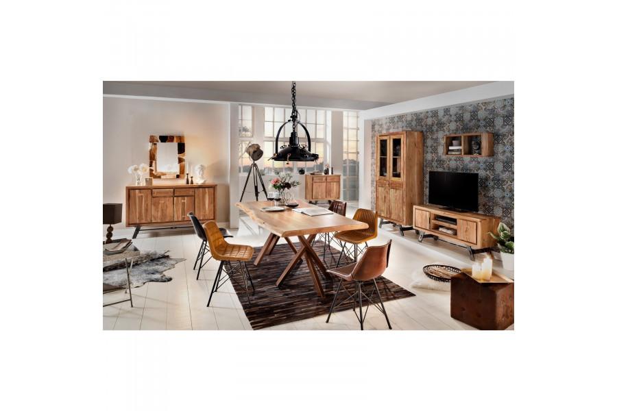 Composition salle à manger complète style rustique coloris marron collection Joyce