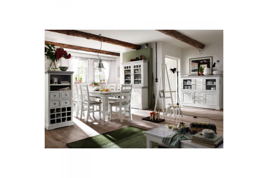 Composition salle à manger contemporaine en bois pin massif coloris blanc et gris collection Riedenburg