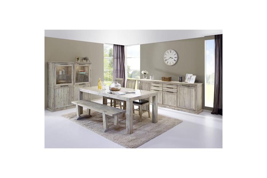Salle à manger complète contemporaine gris en bois massif acacia Collection Obtain